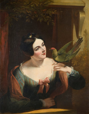 The Pet Bird, Mid 19th century by Daniel Maclise - print