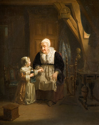 Woman and Child, 1842 by Hendrick Ringeliing - print