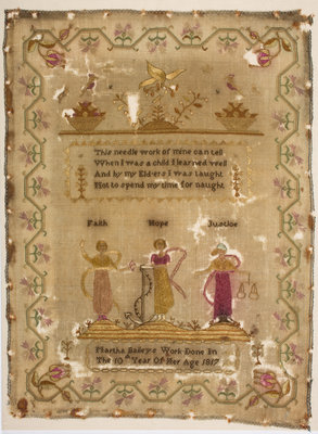 Sampler stitched with a poem, Martha Baileys Work Done In The 10th Year Of Her Age, 1817 by unknown - print