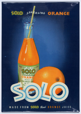 Solo Sparkling Orange Juice advertisement, printed by Walsall Lithographic Company Limited, 1960s by Unknown - print