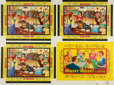 "Box lids for ""Housey Housey or Lotto"" and ""Post Office"" games, Walsall Lithographic Company Limited, 1950s by unknown - print"