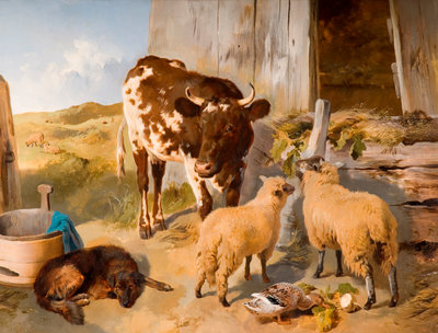 A Corner of the Farmyard, 1856 by George W Horlor - print