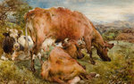 Three Cows in a Field, 1868 by Unknown - print