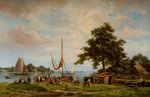 Loading Boats, 1866 by Hermanus Koekkoek Snr - print