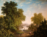 Lake Scene with Boats and Figures, Early 19th Century by Patrick Nasmyth - print