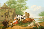 Cattle in Meadow (Milking in Summer), 1700 - 1763 by Daniel Maclise - print