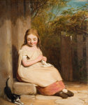Young Girl with Kitten, 19th century by Benjamin Williams Leader - print
