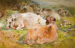 Cattle and Sheep, 1868 by William Huggins - print