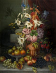 Still Life, Flowers and Fruit, 1889 by E Steele - print