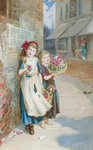 The Little Flower Sellers by Augustus Edwin Mulready - print