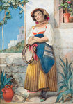 The Tambourine Girl (The Portrait) by William Knight Keeling - print