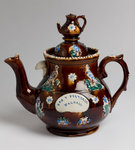 "Measham ware ""bargee art"" teapot dedicated to Mrs Pearsall of Walsall, 1860 - 1910 by Unknown - print"