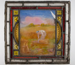 Window pane painted with a harvest scene, from the Woolpack Inn, Walsall by Unknown - print