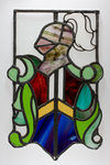 Stained glass window with a knight motif, from the Woolpack Inn, Walsall by unknown - print