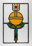 Stained glass window with a royal orb motif, from the Woolpack Inn, Walsall by Unknown - print