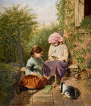 Pet Rabbits, 1875 by William H Ward - print