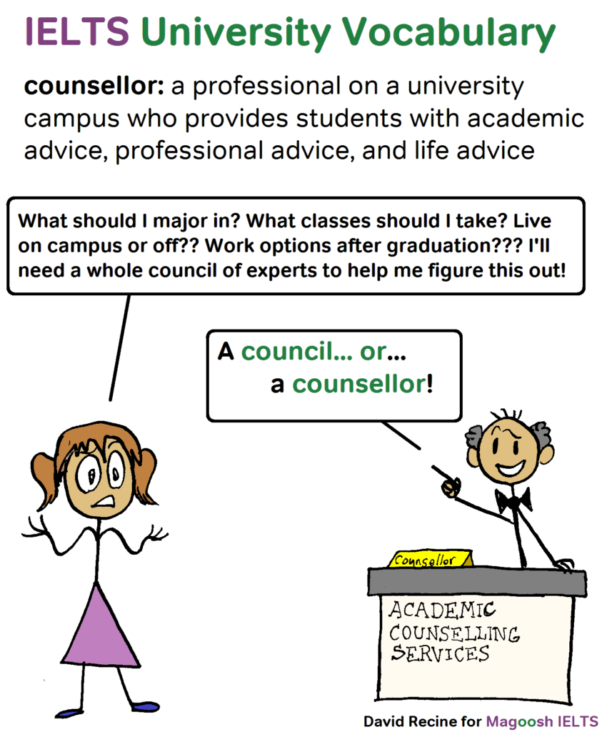 IELTS University Vocabulary - counsellor - magoosh