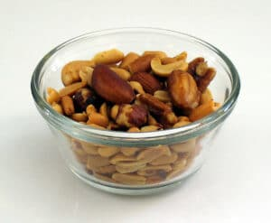 bowl of mixed nuts is a brain food for studying