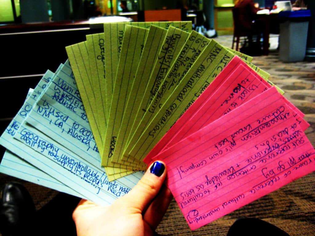 color-coded Praxis flashcards