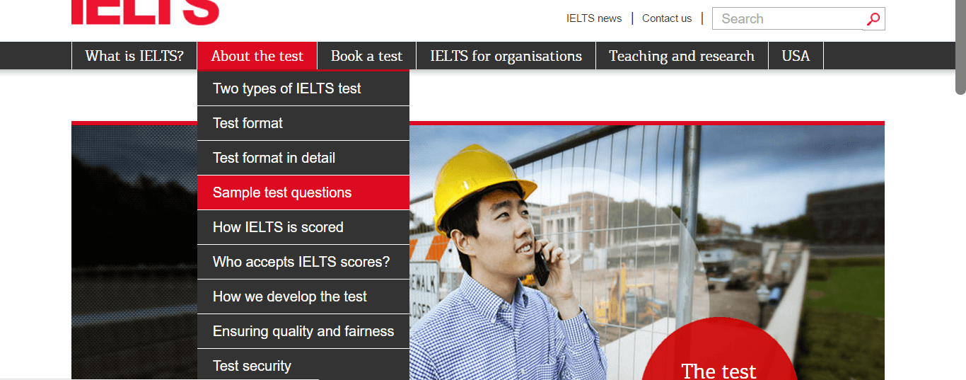 Accessing official IELTS practice materials on IELTS.org, one of the official IELTS websites - magoosh
