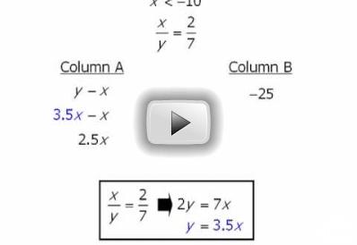 Sample Quantitative Comparison GRE Question