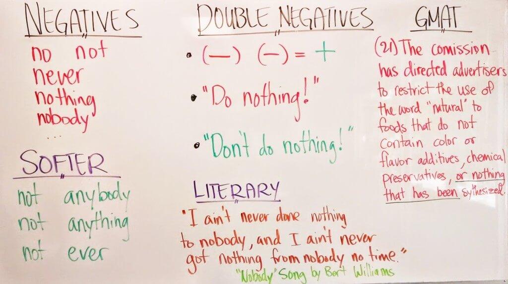 Sentence Correction — Double Negatives