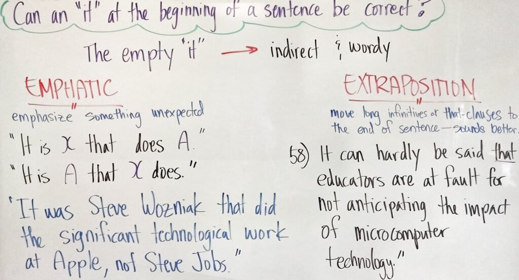 Sentence Correction—it at the Beginning of a Sentence