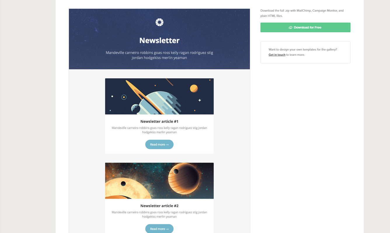 300 free responsive email templates of various categories and styles