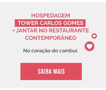Hospedagem Tower Carlos Gomes + jantar no restaurante Contem porâneo. No coração do Cambuí. Saiba mais