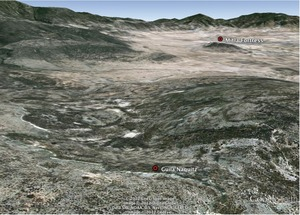 Guila_naquitz_google_earth_view_facing_east_towards_mitla_fortress
