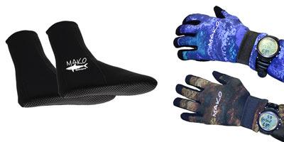 MAKO Spearguns Yamamoto freedive socks and gloves