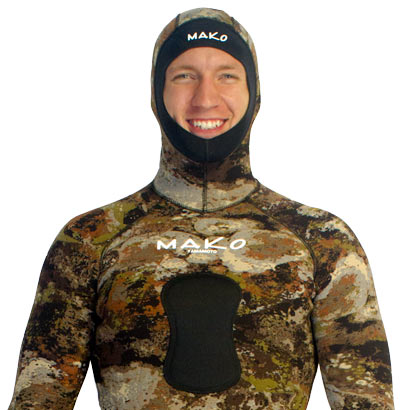 3D reef camo wetsuit Integrated Hood and lowered Chest Loading Pad for both Railguns and Hybrids