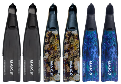 competition freediver fins in Black, Reef Camo and Blue Camo