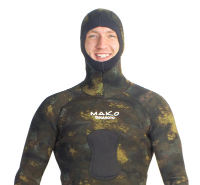 reef camo wetsuit Integrated Hood and lowered Chest Loading Pad for both Railguns and Hybrids