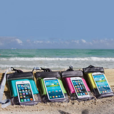 Our waterproof pouch is available in Pink Blue Green or Yellow colors