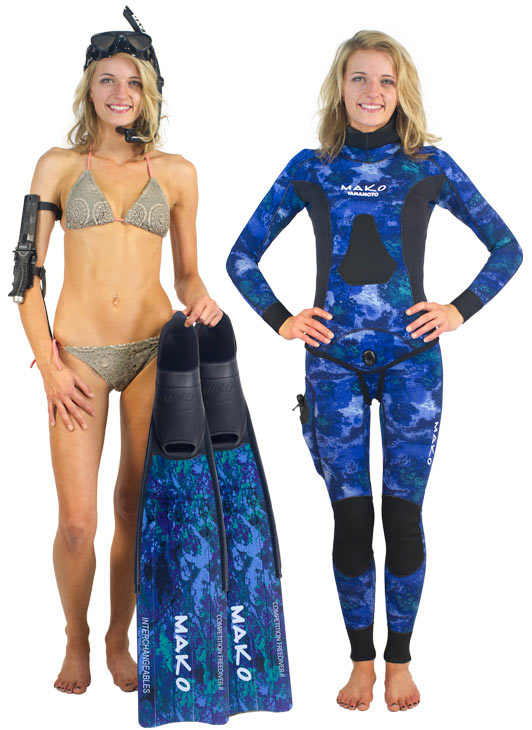womens ocean blue camo competition freediver fins