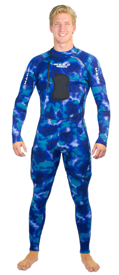 reversible wetsuit green camo and blue camo - showing blue camo