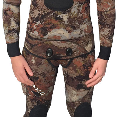 3D reef camo wetsuit Beaver Tail Snaps