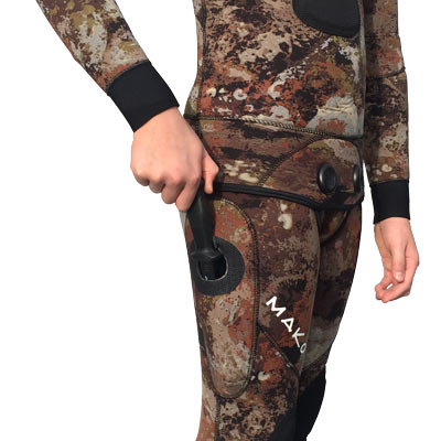 Built in knife pockets save lives. Eliminates the possibility of becoming entangled in lines or nets.