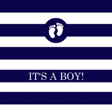 Navy and White Stripes (Set) Boy Baby Shower Invite