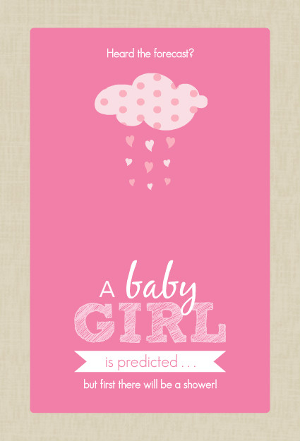 baby shower invitations pink and taupe clouds girl baby shower