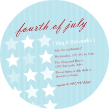 Blue and Red Stars and Stripes Pattern Fourth of July party Invitation