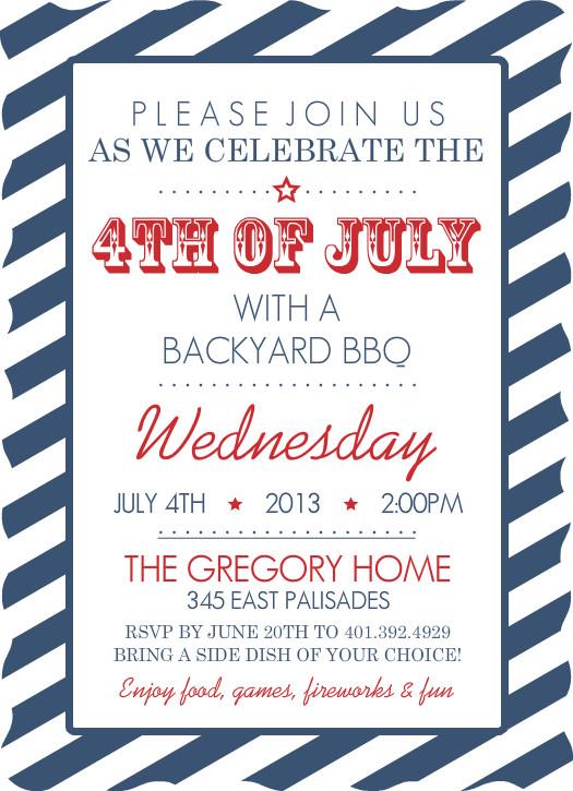 July 4th invitations navy stripes fourth of july invitation