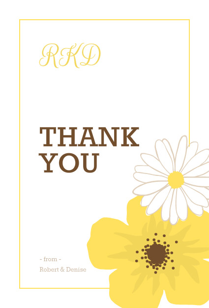 wedding thank you cards simple and classic yellow flower wedding thank you card