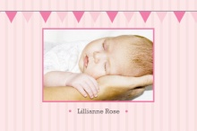 Pink Flags and Stripes (Set) Baby Announcements