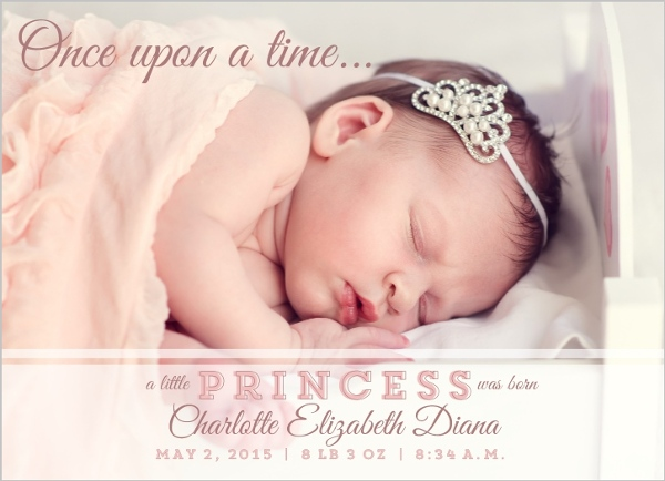 Little Princess Birth Announcement Print Download Or