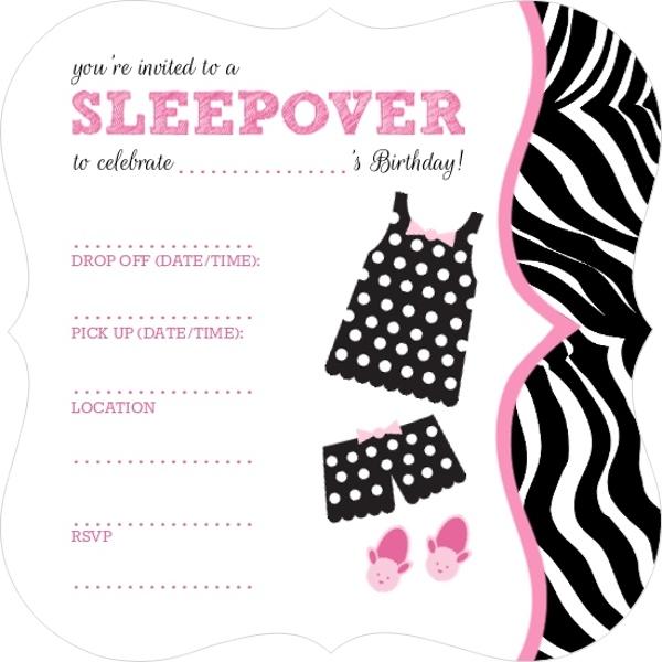 Cards gt polka dot pajamas fill in the blank slumber party invitation