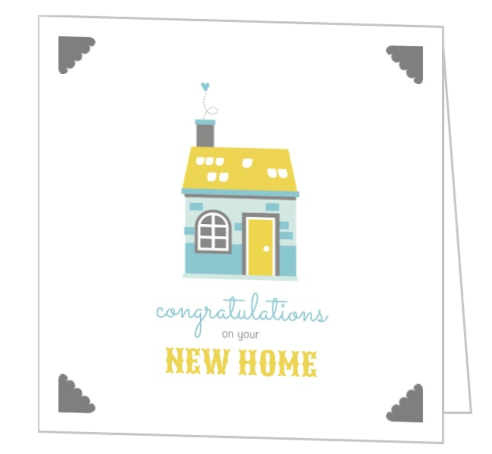 Cute homestead new home congratulations card template for New home images