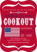 Red Modern Bracket and Flag Memorial Day Invitation