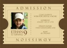 Admission Ticket Brown Kids Birthday Invitation